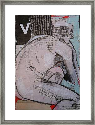 Alphabet Nude V Framed Print by Joanne Claxton