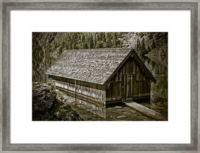 Alpine Boat Hut Framed Print by Frank Tschakert