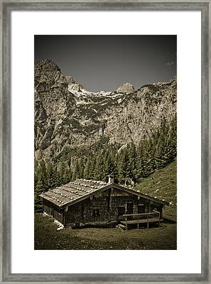 Alpine Cabin Framed Print by Frank Tschakert