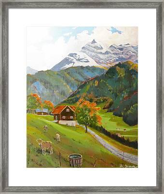 Alpine Farm Near Buerglen In Canton Uri Framed Print