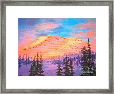 Alpine Glow - Mt. Shasta Framed Print
