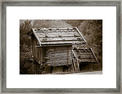 Alpine Hut Framed Print by Frank Tschakert