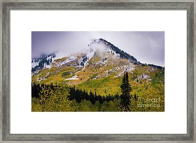 Framed Print featuring the photograph Alpine Loop Autumn Storm - Wasatch Mountains  by Gary Whitton