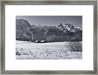 Alpine Mountain Range In Black And White Framed Print by Sabine Jacobs