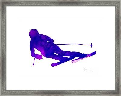 Alpine Skiing Minimalist Painting Framed Print