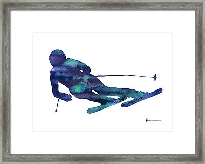 Alpine Skiing Watercolor Minimalist Painting Framed Print