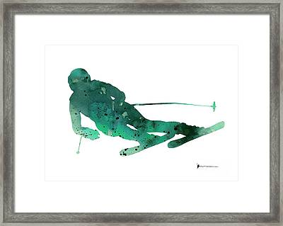 Alpine Skiing Watercolor Painting For Sale Framed Print