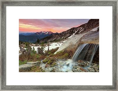 Alpine Waterfall In The Southern Wasatch. Framed Print by Johnny Adolphson