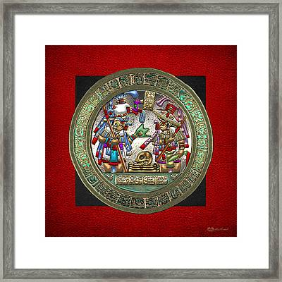 Altar 5 From Tikal - Mayan Nobles Performing A Ritual - On Black And Red Leather  Framed Print
