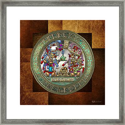 Altar 5 From Tikal - Mayan Nobles Performing A Ritual - On Brown Leather  Framed Print