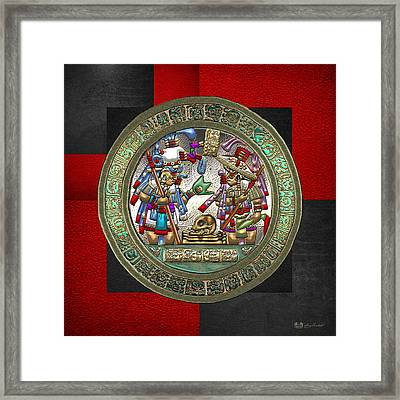 Altar 5 From Tikal - Mayan Nobles Performing Reburial Ritual - On Black And Red Leather Framed Print by Serge Averbukh