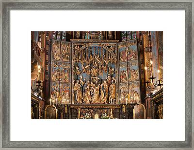 Altarpiece By Wit Stwosz In St. Mary's Basilica In Krakow Framed Print by Artur Bogacki