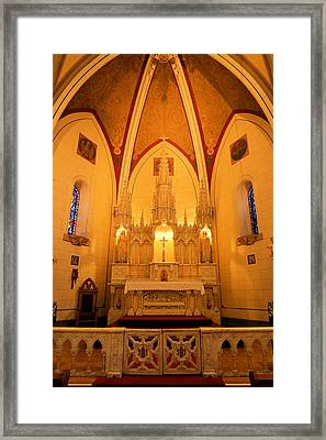 Alter At The Loretto Chapel Framed Print by Jeff Swan