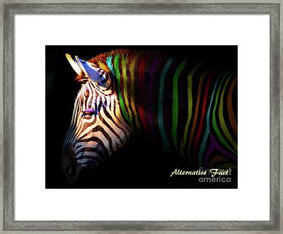 Framed Print featuring the photograph Alternative Fact Number 1 The Color Striped Zebra 7d8908 by Wingsdomain Art and Photography