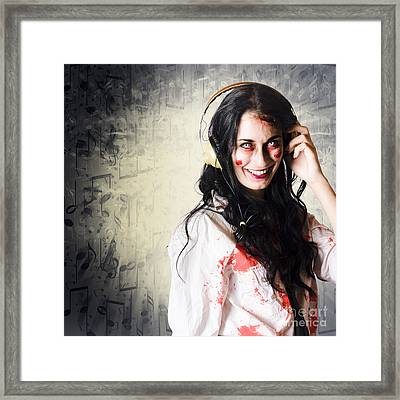 Alternative Woman Rocking Out With Earphones Framed Print by Jorgo Photography - Wall Art Gallery