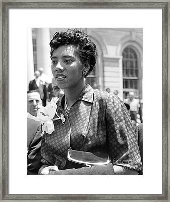 Althea Gibson, First African American Woman To Win A Grand Slam Title. 1957 Framed Print by Anthony Calvacca