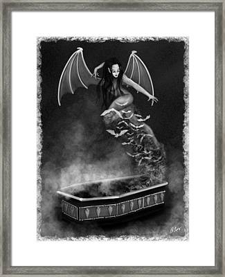 Always Awake - Black And White Fantasy Art Framed Print