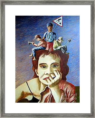 Am I My Thoughts Framed Print by Tanni Koens