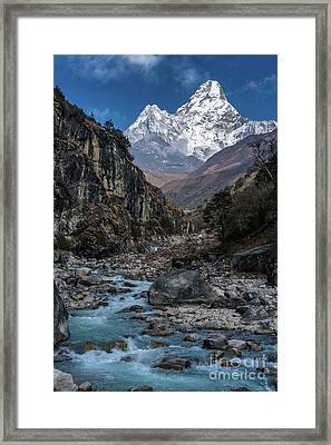 Ama Dablam In Nepal Framed Print by Mike Reid