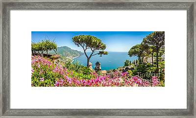 Amalfi Coast From Villa Rufolo Gardens In Ravello, Campania, Ita Framed Print