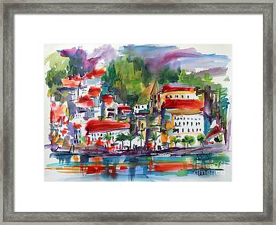 Framed Print featuring the painting Amalfi Coast Italy Expressive Watercolor by Ginette Callaway