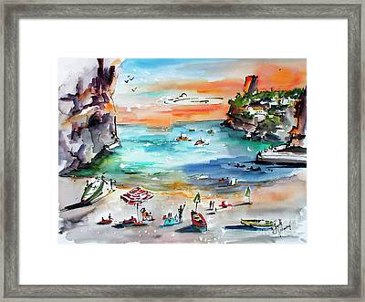 Framed Print featuring the painting Amalfi Coast Italy Watercolors by Ginette Callaway