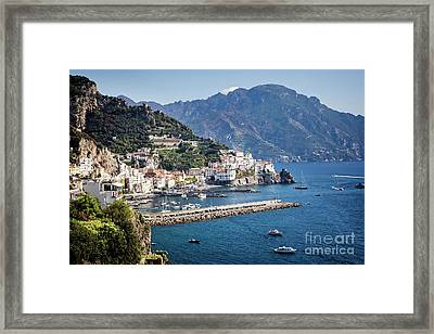 Framed Print featuring the photograph Amalfi Harbor by Scott Kemper