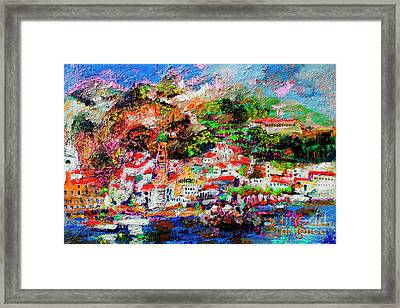 Framed Print featuring the painting Amalfi Impression Travel Italy by Ginette Callaway