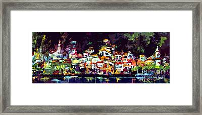 Amalfi Italy At Night Panoramic Framed Print