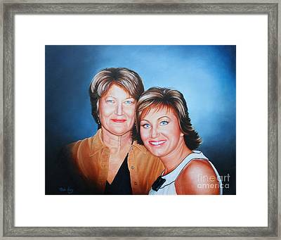 Framed Print featuring the painting Amanda And Mom by Mike Ivey