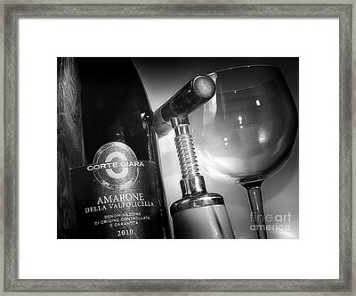 Amarone Black And White Framed Print