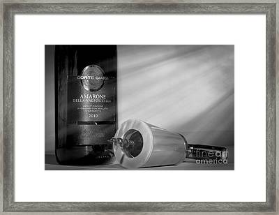 Amarone Wine And Ivory Corkscrew Framed Print by Stefano Senise