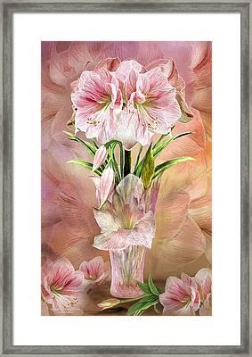 Framed Print featuring the mixed media Amaryllis In Amaryllis Vase by Carol Cavalaris