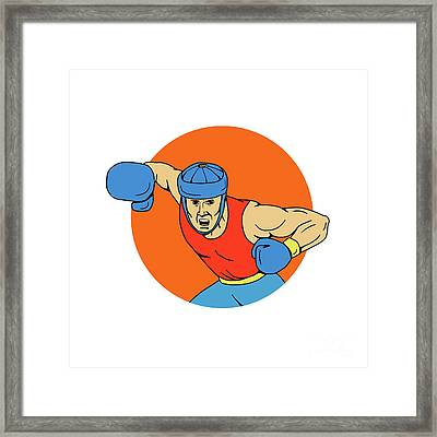 Amateur Boxer Overhead Punch Circle Drawing Framed Print