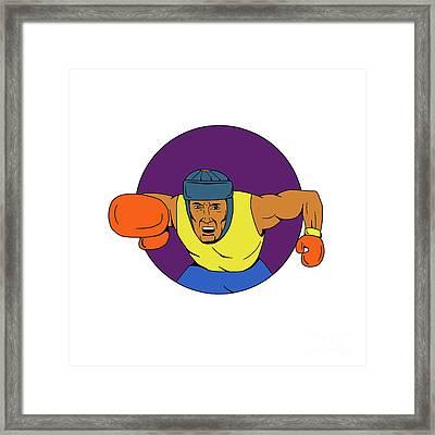 Amateur Boxer Punching Circle Drawing Framed Print