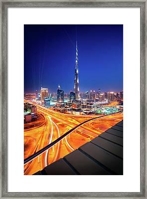 Amazing Night Dubai Downtown Skyline, Dubai, United Arab Emirates Framed Print
