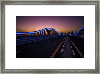 Amazing Night Dubai Vip Bridge With Beautiful Sunset. Private Ro Framed Print