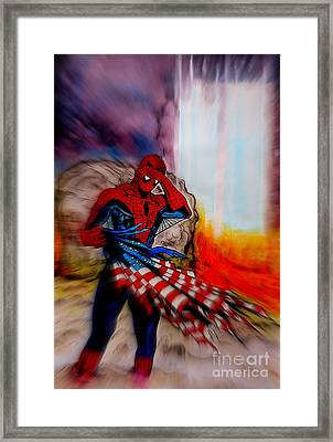 Amazing Spider-man 9/11 Tribute Framed Print by Justin Moore
