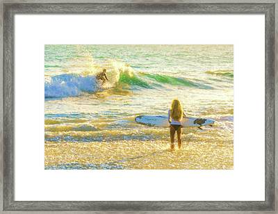 Amazing View 1 Surfing Watercolor Framed Print