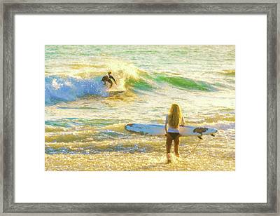 Amazing View 2 Surfing Watercolor Framed Print