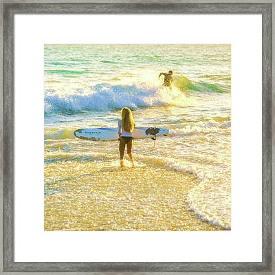 Amazing View 3 Surfing Watercolor Framed Print