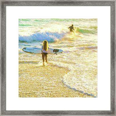 Amazing View 4 Surfing Watercolor Framed Print