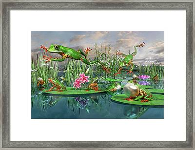Amazon Frogs Welcoming Spring Framed Print