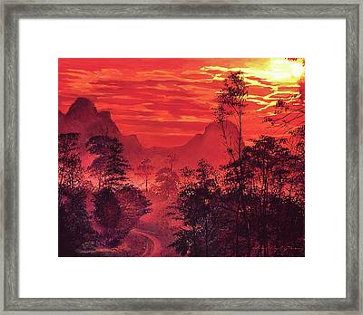 Amazon Sunset Framed Print