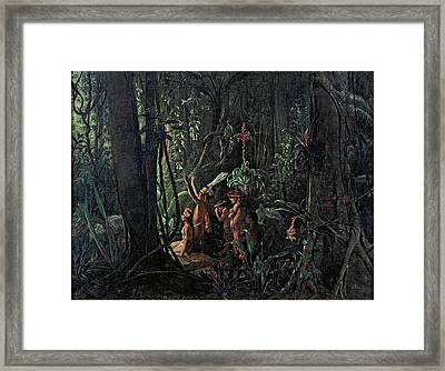 Amazonian Indians Worshiping The Sun God Framed Print by Francois-Auguste Biard