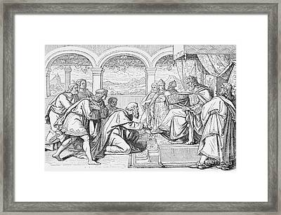 Ambassadors Of Haroun Al Raschid Before Charlemagne Framed Print by French School