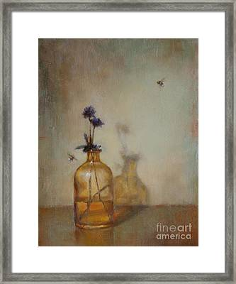 Amber Bottle And Bees  Framed Print by Lori  McNee