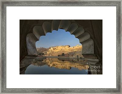 Framed Print featuring the photograph Amber Fort Reflection by Yew Kwang