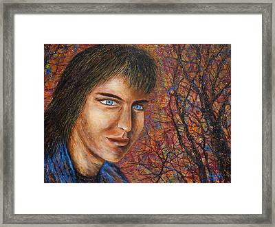 Framed Print featuring the painting Amber Glow by Natalie Holland