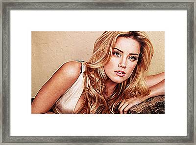 Amber Heard Framed Print by Iguanna Espinosa